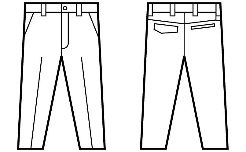 自重堂Z-DRAGON 71201 綿100%ノータックパンツ ハンガーイラスト・線画