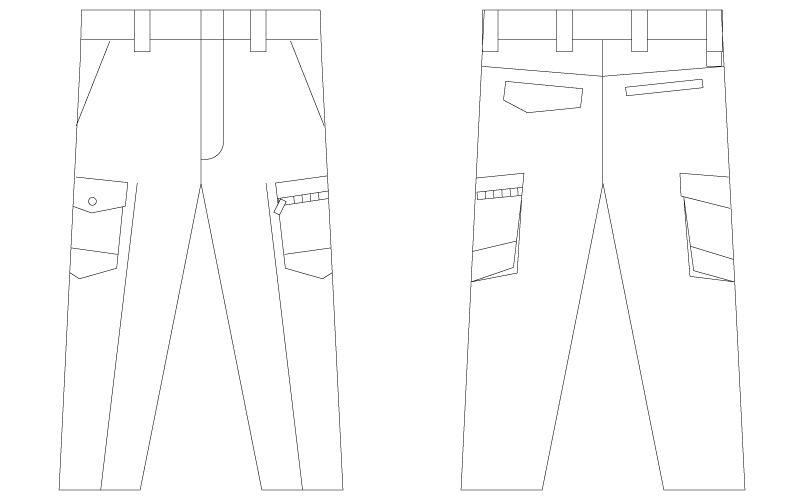 自重堂Z-DRAGON 75302 [春夏用]製品制電ノータックカーゴパンツ(男性用) ハンガーイラスト・線画