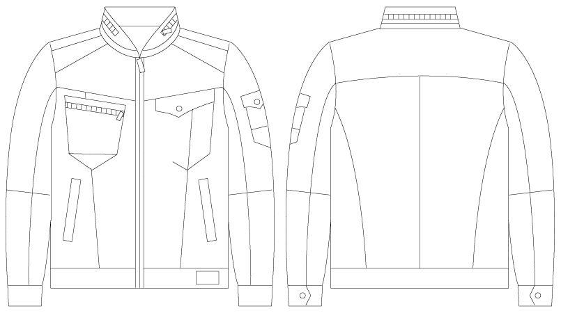 75600 自重堂Z-DRAGON [春夏用]ストレッチデニム長袖ジャンパー ハンガーイラスト・線画
