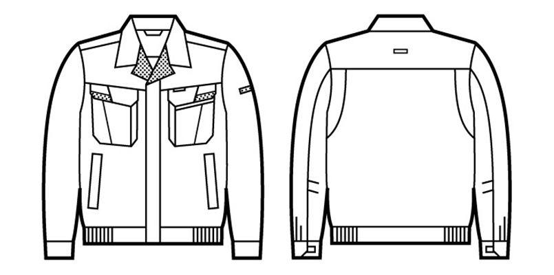 81600 自重堂 制電ストレッチ長袖ブルゾン(JIS T8118適合) ハンガーイラスト・線画