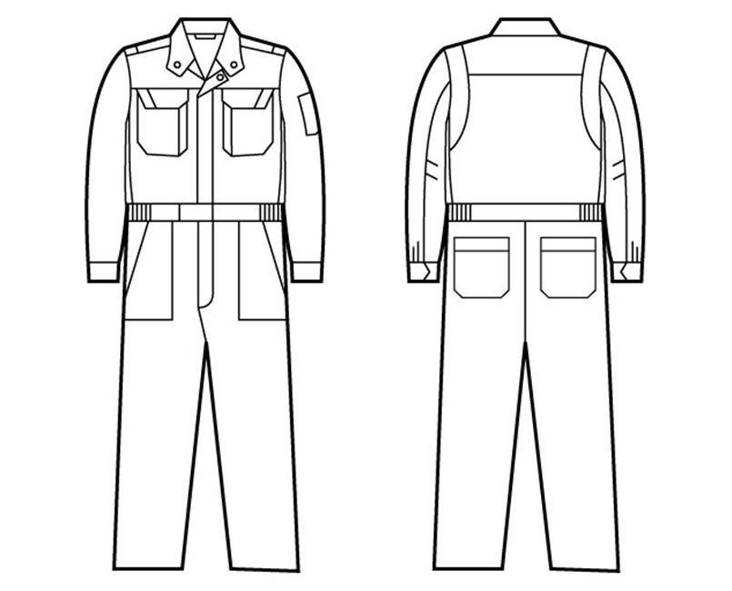 82420 自重堂 ブレバノプラスツイル難燃ツナギ ハンガーイラスト・線画