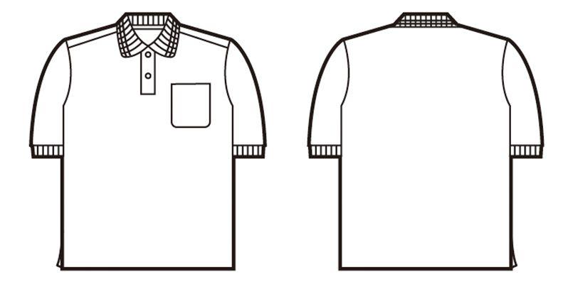 85254 自重堂 エコ製品制電半袖ポロシャツ(胸ポケット有り)(JIS T8118適合) ハンガーイラスト・線画