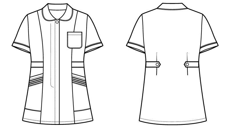 自重堂WHISELチュニック WH11101 パイピング かわいい襟元(女性用) ハンガーイラスト・線画