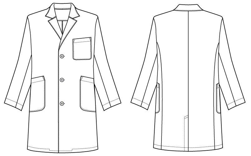 自重堂WHISEL WH11507 メンズシングルハーフコート(男性用) ハンガーイラスト・線画