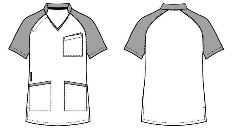 自重堂WHISEL WH11785 スクラブ(男女兼用)衿と袖が配色 ハンガーイラスト・線画