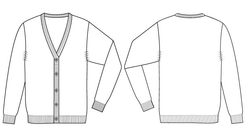 自重堂WHISEL WH90019 レディースカーディガン(女性用) ハンガーイラスト・線画