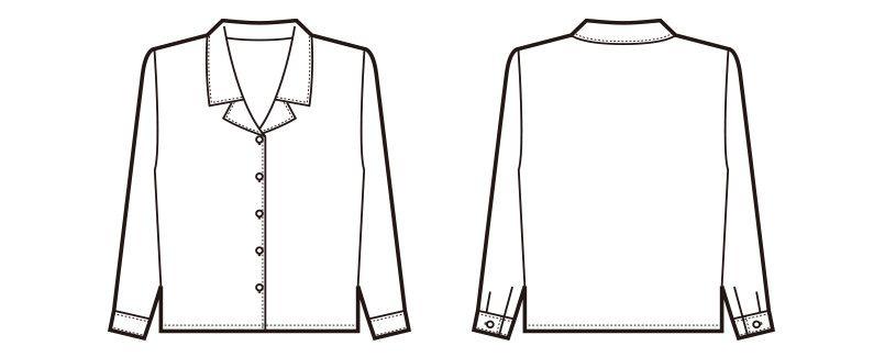 en joie(アンジョア) 0402 肌触りが心地よい綿混素材の長袖ブラウス ハンガーイラスト・線画