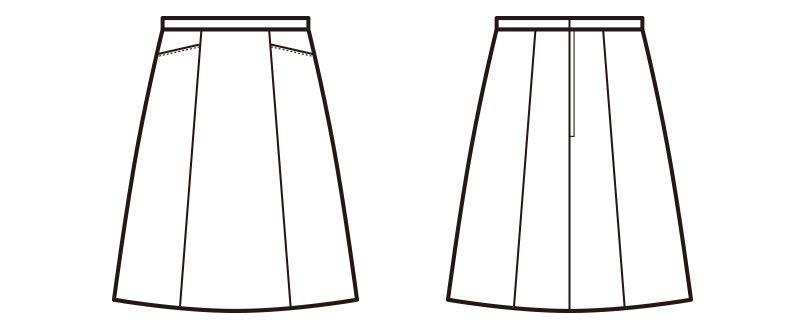 en joie(アンジョア) 51453 ストレッチ+シワになりにくいAラインスカート 無地 ハンガーイラスト・線画