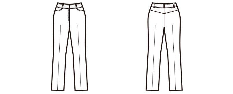 en joie(アンジョア) 71512 [通年]小尻効果のあるニット素材のストレートパンツ 無地 ハンガーイラスト・線画