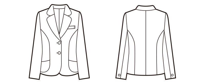 en joie(アンジョア) 81370 軽さと伸縮性があり凹凸感が上品なストレッチジャケット 無地 ハンガーイラスト・線画