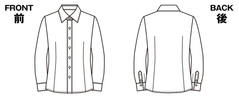EWB484 enjoy [通年]肌に優しいソフトタッチで透けにくく1枚着でも安心な長袖シャツブラウス[制菌/防透/吸汗速乾/防臭] ハンガーイラスト・線画