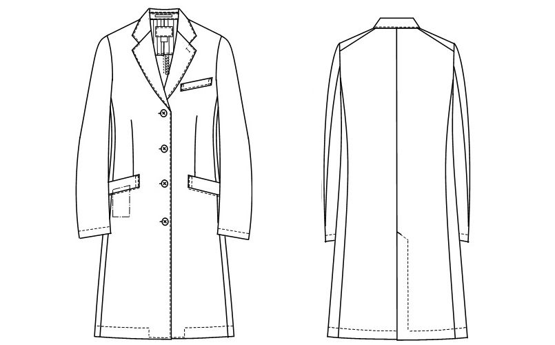 SD3040 ナガイレーベン(nagaileben) シングル診察衣長袖(女性用) ハンガーイラスト・線画