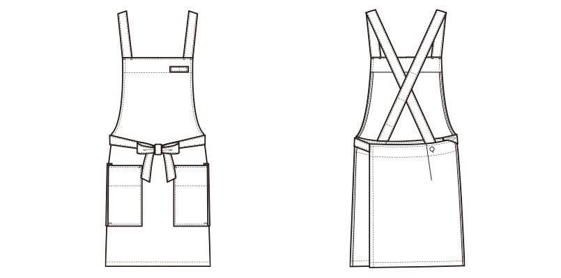 CT2398 セブンユニフォーム 胸当てエプロン(男女兼用) ハンガーイラスト・線画