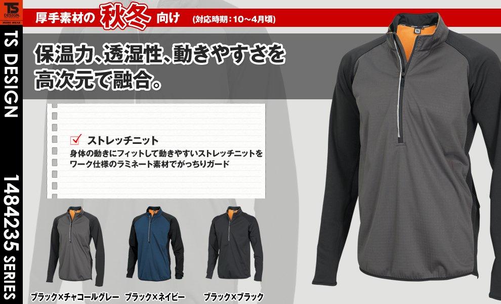84235 ラミネートロングスリーブジップシャツ